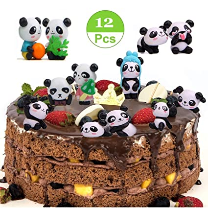 Amazon Com 12 Pack Cute Panda Cake Toppers Party Favors Cupcake