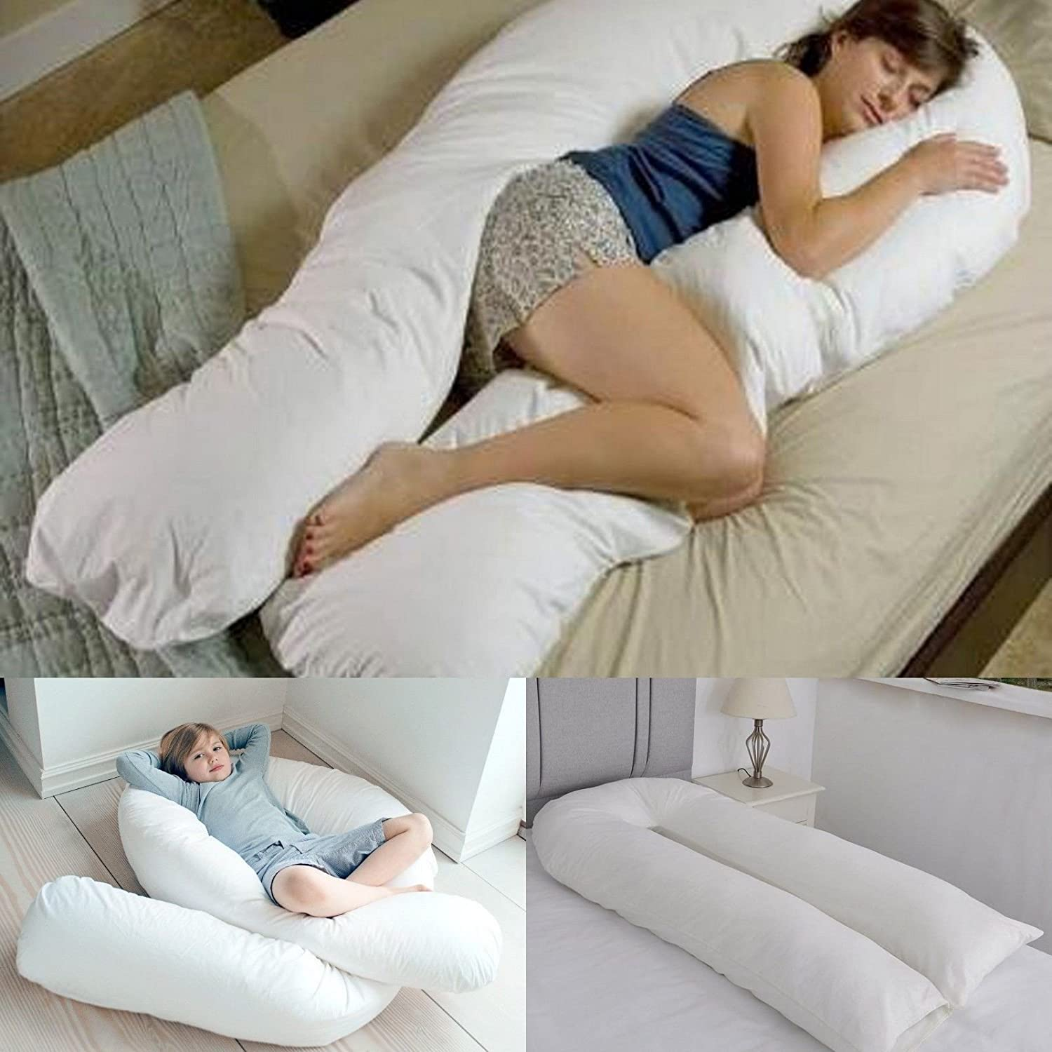 Bedding Home 12 & 9 FT Long C_U Shaped Curled Full Body Large Cuddly & Maternity Pregnancy Support Pillow (9 Foot Pillow)