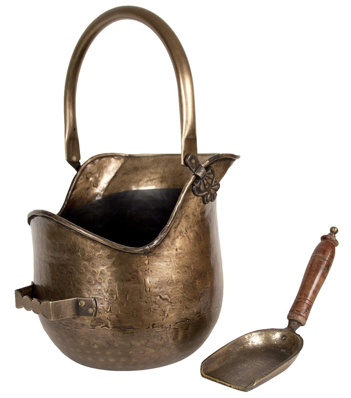 Coal Scuttle Bucket Hod & Shovel Antique Brass Finish Fireplace Accessory
