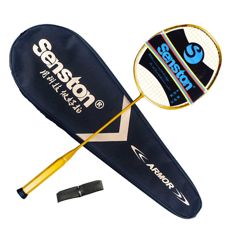 Senston N80-YT Jointless Badminton Racket Single High-Grade Badminton Racquet Carbon Fiber Badminton Racket Gold with Racket Cover and Overgrip by Senston (Image #7)