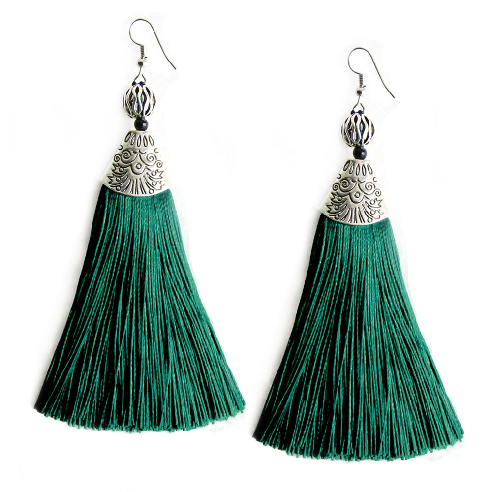 MHZ JEWELS Dark Green Big Drop Earrings with Tassels Elegant Emerald Dangle Bead Tassel Earring for Women Girls