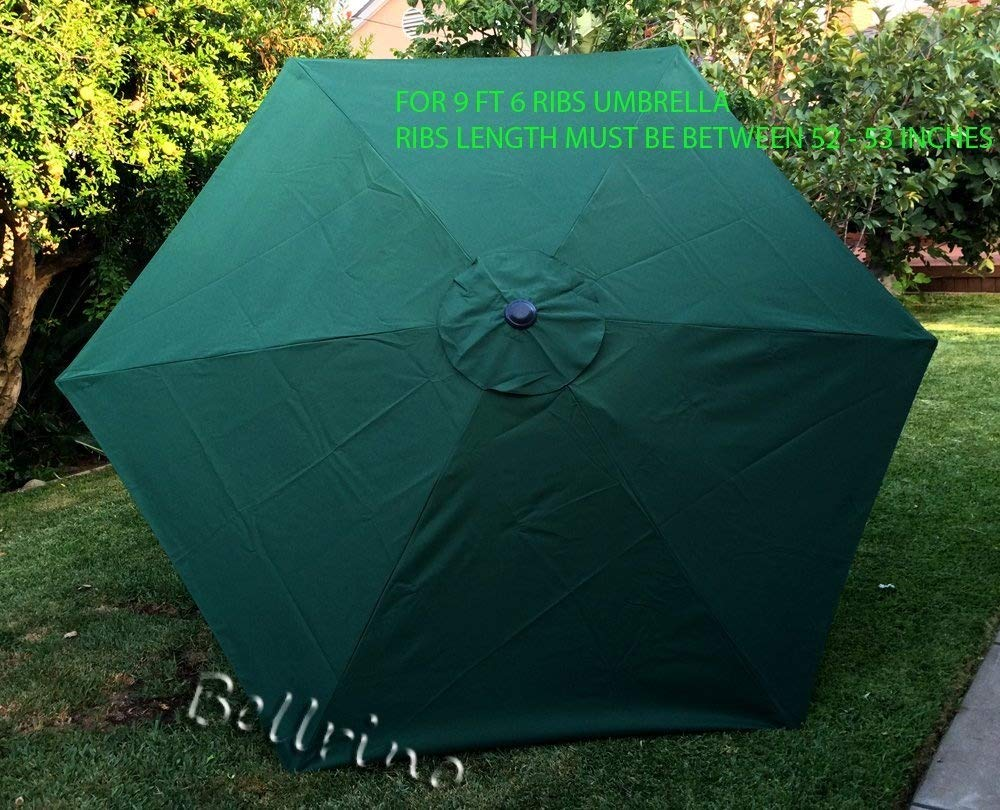 BELLRINO DECOR Replacement Hunter Green STRONG THICK Umbrella Canopy for 9ft 6 Ribs Canopy Only