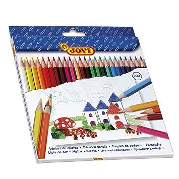 Jovi - Estuche con 24 lápices de Madera, Colores Surtidos ...