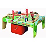 maxim enterprise, inc. 50 Piece Wooden Train Set with Train / Activity Table - BRIO and Thomas & Friends Compatible