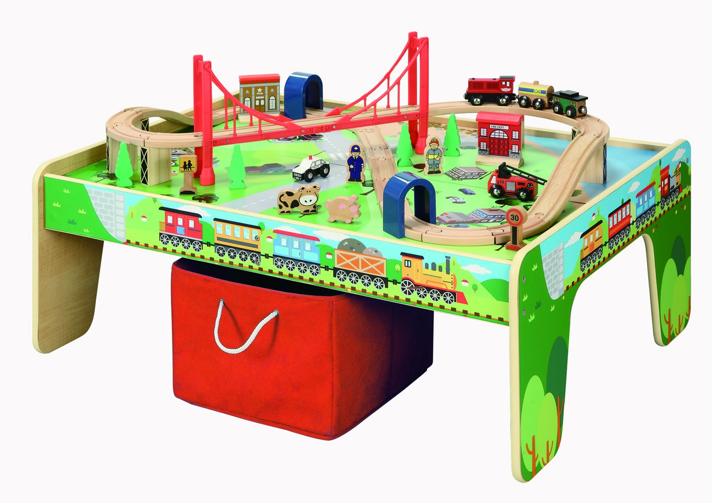50 piece Train Set with Train / Play Table - BRIO and Thomas & Friends Compatible by Maxim Enterprise INC