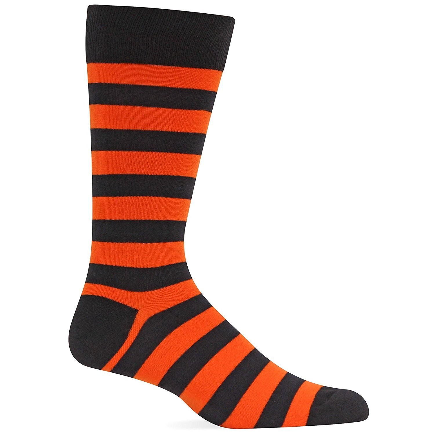 Hot Sox Mens Slack Crew, Holiday Stripe Orang - Size: 10-13, Comes With a Helicase Brand Sock Ring
