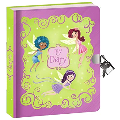 "Peaceable Kingdom Fairies Shiny Foil Cover 6.25"" Lock and Key, Lined Page Diary for Kids: Toys & Games"