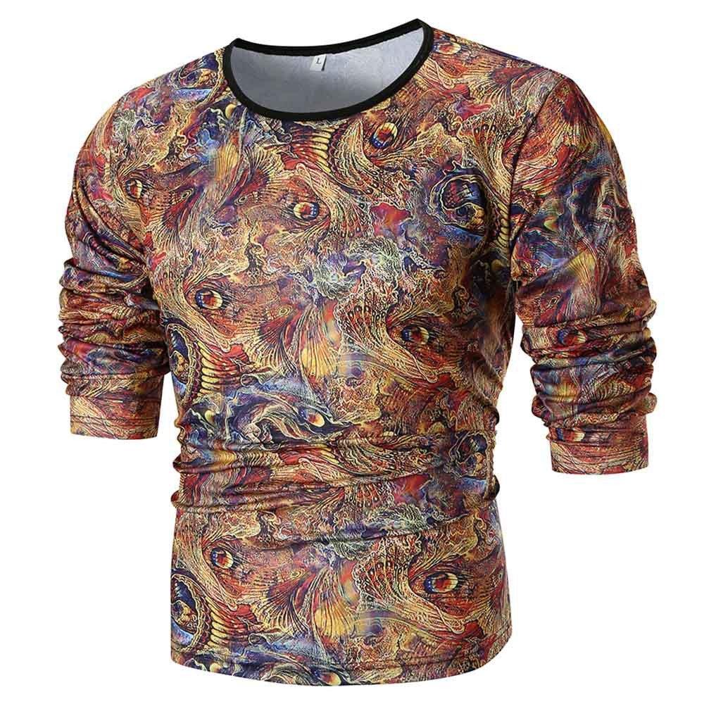 LuckyGirls Camisetas Hombre Manga Larga Estampado de Personalidad Originales Casual Basicas Streetwear Camisa Deporte Sudaderas