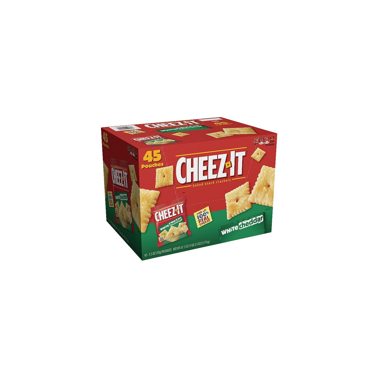 Cheez-It White Cheddar Crackers Snack Packs (1.5 oz. packets, 45 ct.) by Cheez-It