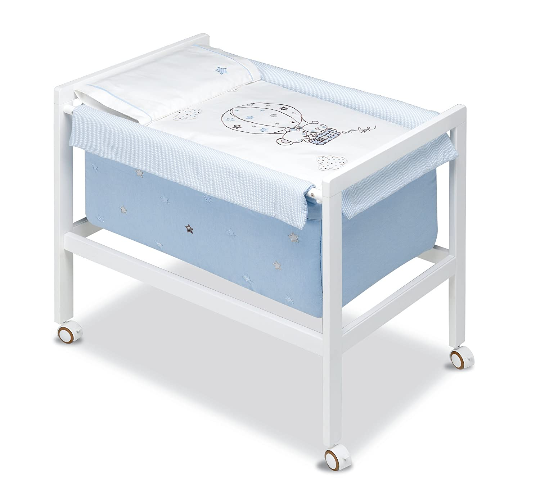 pirulos Globo–minicuna quadratisch, 61x 90x 80cm, Farbe: weiß/blau