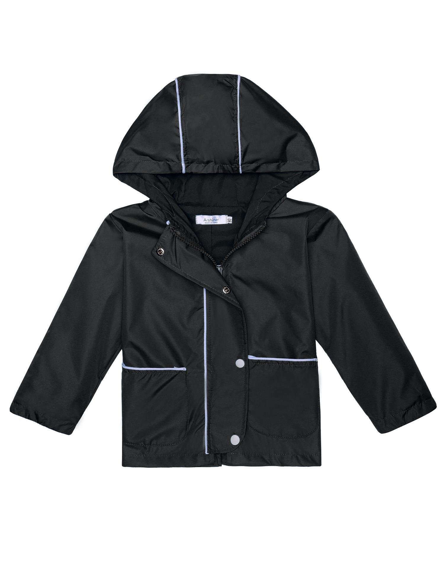 Cindere Kids Raincoat Lightweight Waterproof Rain Jacket Coat with Hooded (140(Age for 7-9Y), Type2 Black) by Cindere