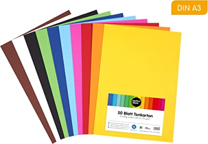 perfect ideaz papel de construcción A3 de colores, 50 hojas, en 10 colores diferentes, grosor de 210g/m², hojas de la máxima calidad: Amazon.es: Oficina y papelería