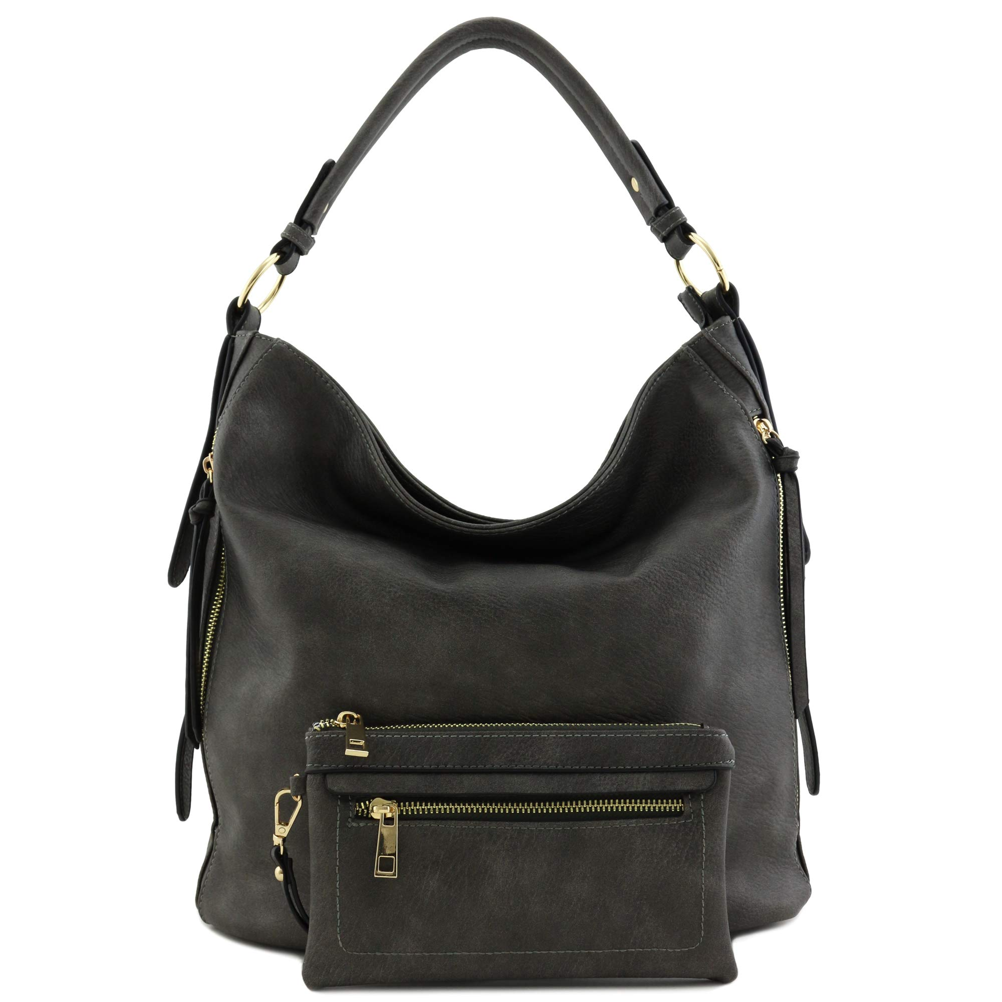 2pc Set Faux Leather Large Hobo Bag with Pouch Purse Charcoal Grey