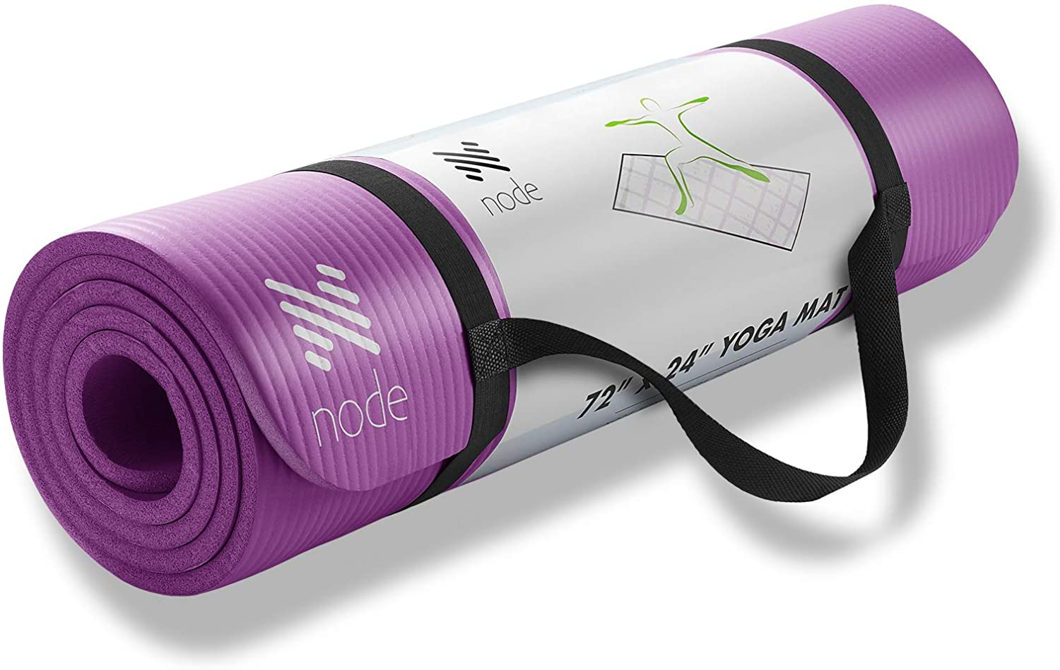 Node Fitness 72 x 24 Yoga Mat – 1 2 Extra Thick with Carrying Strap