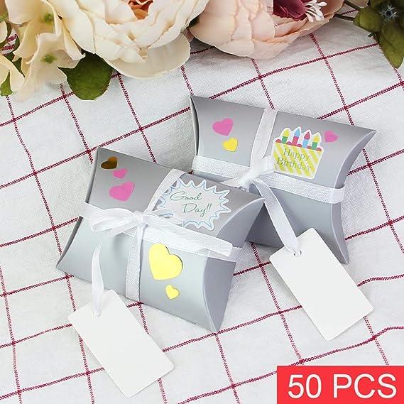 DECARETA Sacs Cadeaux doreiller en Carton Bo/îtes de Bonbons avec 7 Autocollants Carte-Cadeau /Étiquette Ruban pour Mariage Argent 50Pcs Bo/îtes Cadeaux F/ête Saint Valentin Anniversaire