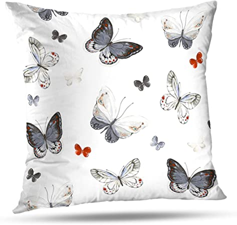 Black butterfly Pillow Cover Black