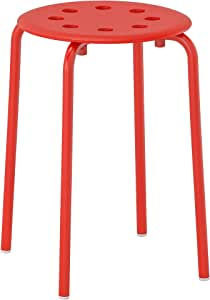 Stackable Plastic & Steel stool R018 - Red