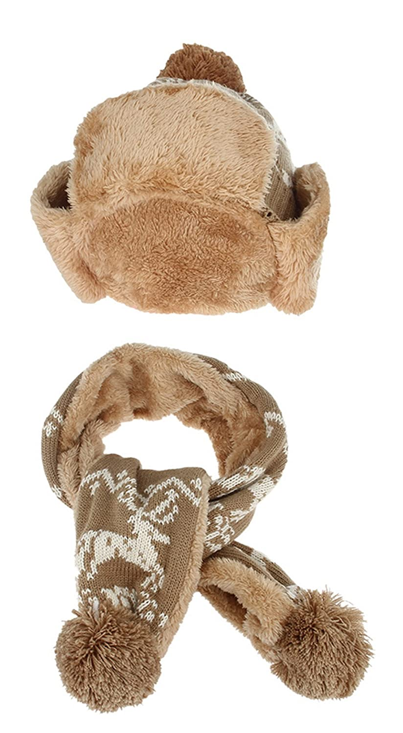 Gemvie Christmas Reindeer Kids Fleece Lined Trapper Hat And Scarf Set