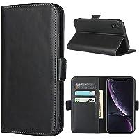 Frolan iPhone XR Wallet Case Genuine Leather, Premium Cow Leather Flip Kickstand Card Holder Case Magnetic Drop…