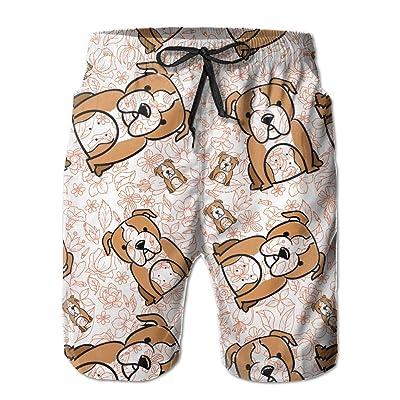 Lokskives Big Boys' Cute Funny Bulldog Aloha Fashion Quick Dry Beach Surf Board Short Pants Swim Trunk With Mesh Lining