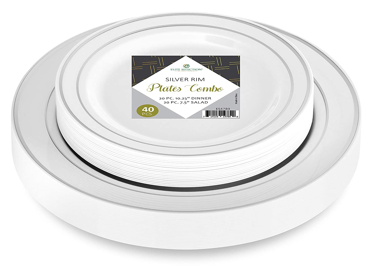 Elite Selection Set Of 40 Party Plastic Plates Silver Rim Includes 20 Dinner Plates 10.25 And 20 Salad / Dessert Plates 7.5