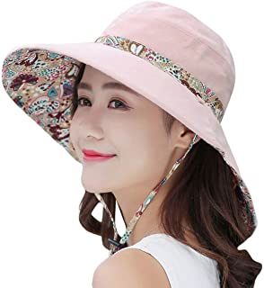 50ef92c4143 HINDAWI Sun Hats for Women Packable Sun Hat Wide Brim UV Protection Beach Sun  Cap