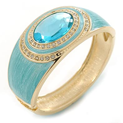 Avalaya Navy Blue Enamel Crystal Hinged Bangle Bracelet In Gold Plating - 18cm L pk6wmflxVb
