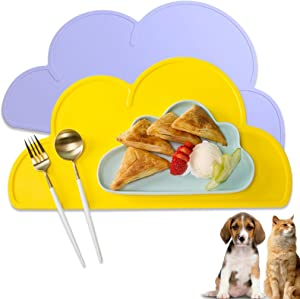 UIBYRIU Dog Cat Pet Silicone Feeding Bowl Mats Waterproof Easy Clean Non Slip Cute Cloud-Shaped Silicone Pet Bowl Placemat Tray to Stop Food Spills and Water Bowl Messes on Floor