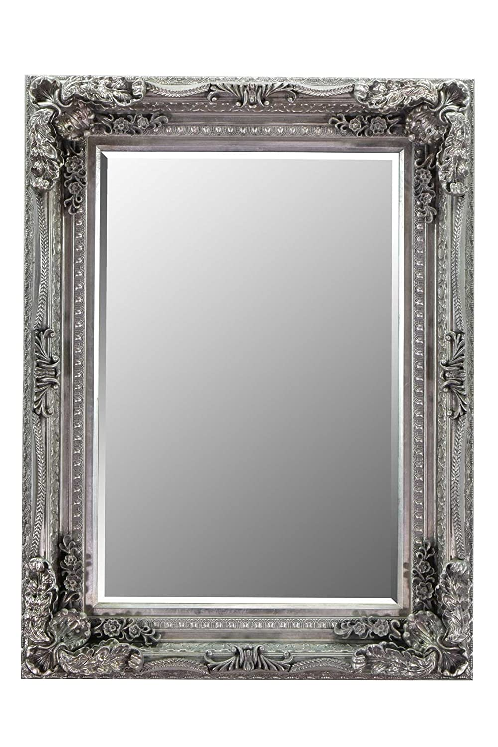 4Ft X 3Ft 120cm X 90cm Large Silver Rectangle Antique Style Big Wall Mirror MirrorOutlet