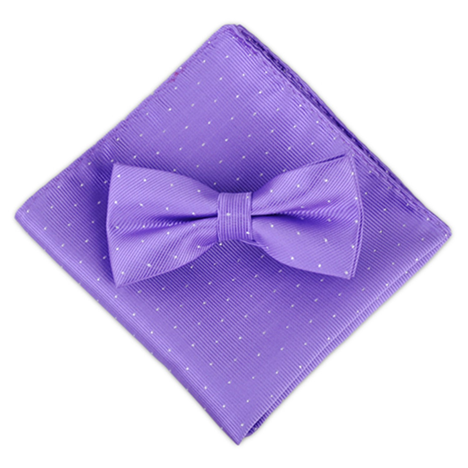 Yamed Men Polka Dot Butterfly Bowtie+Pocket Square Kit Adjustable Bow Tie