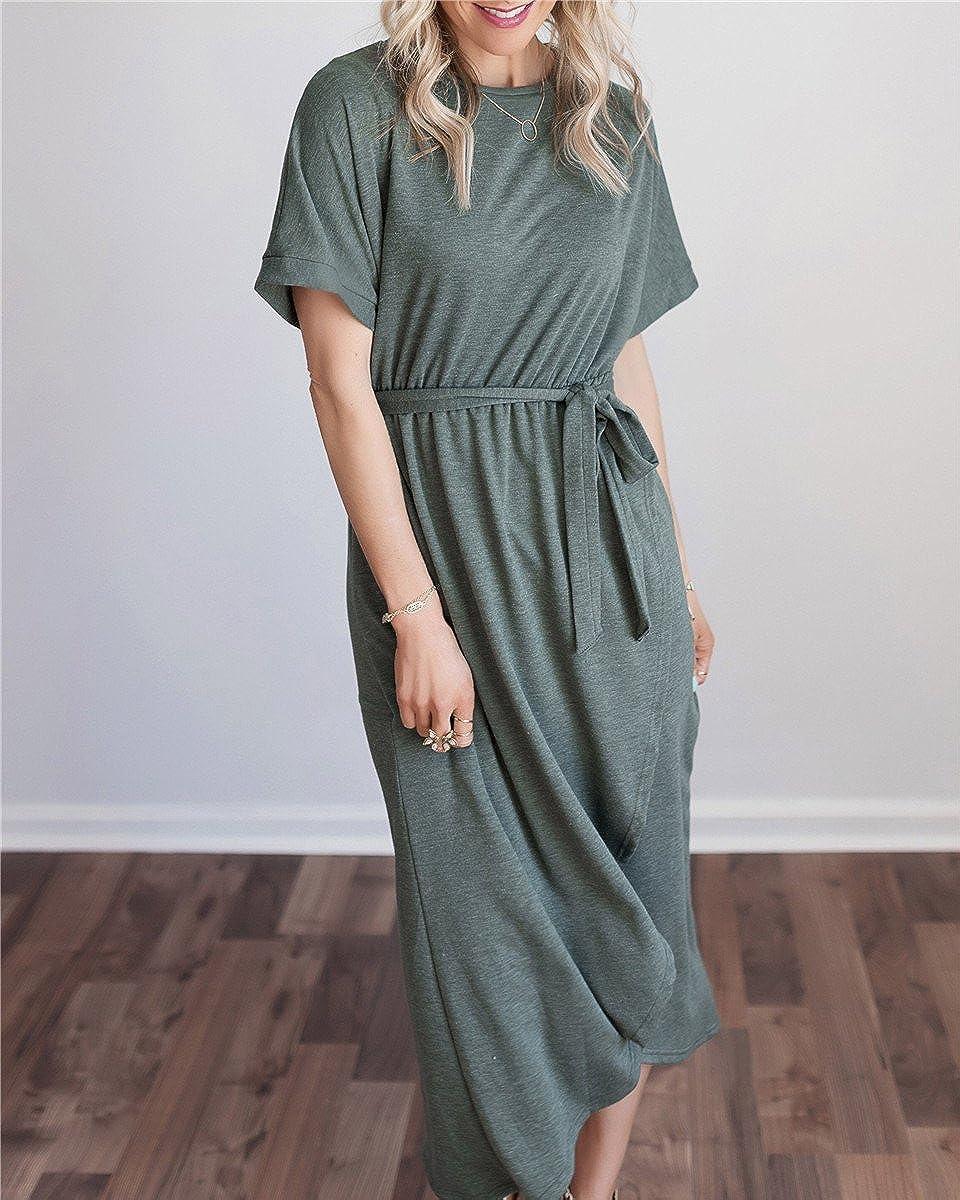 07b97020 Grey Solid Short Sleeve Maxi Dress - raveitsafe