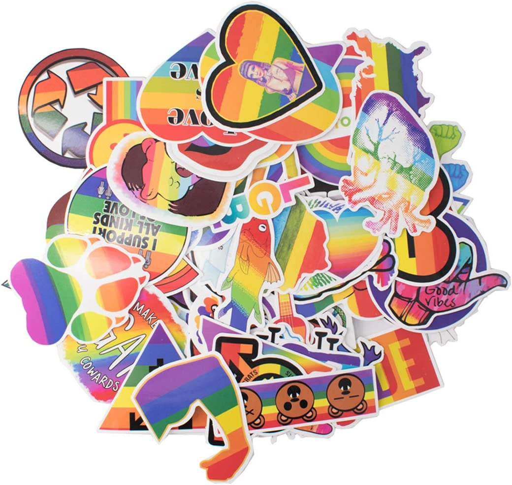 100pcs Gay Pride Luggage Stickers Waterproof Sunlight-Proof Reusable Decals for Skateboard Laptop Suitcase Book Covers Bicycle Children's Room Décor Guitar Graffiti Cute Cartoon (Rainbow)