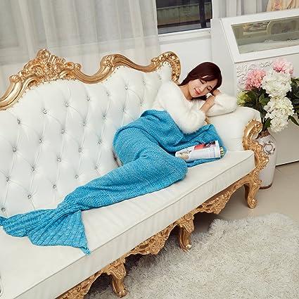 Suave y cálido manta de cola de sirena por aiqi, ganchillo de artesanía Snuggle acogedor forro polar sofá cama sacos de dormir, ideal regalos para los ...