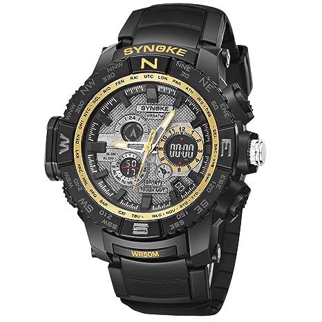 Logobeing Reloj Led Digital Multifuncional Hombre Pulsera Relojes Deportivos Impermeables 50M de Doble Acción Electrónica Digital