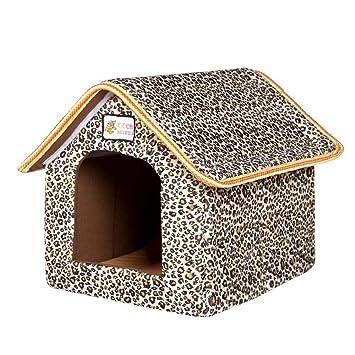 XSQRGG Casa De Mascotas Cama Plegable con Estera Perro Suave Puppy Sofa Cushion Casa Kennel Nest Cama De Gato para Perros Pequeños Y Medianos,001,L: ...