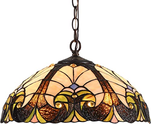 Capulina Tiffany Dining Table Lights, 16 Inch Wide Hanging Tiffany Style Lamp, 2-Light Stained Glass Lighting Fixtures, Stained Glass Dining Room Lights, Beautiful Victorian Tiffany Pendant Lights