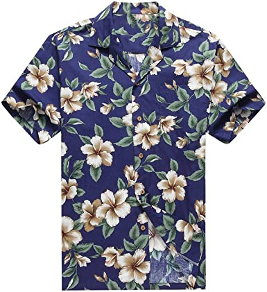 Hecho en Hawaii Camisa Hawaiana de los Hombres Camisa Hawaiana Hibisco Floral en Colores Variados: Amazon.es: Ropa y accesorios