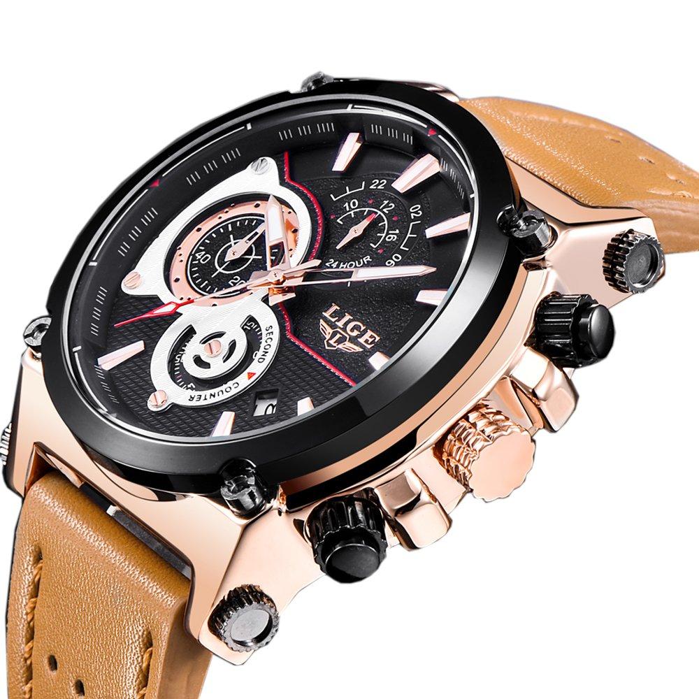 新しいLigeメンズウォッチTopブランドLuxury Quartz Gold WatchメンズカジュアルレザーMilitary防水スポーツ時計Relogio Masculino B07D3SXJDZ