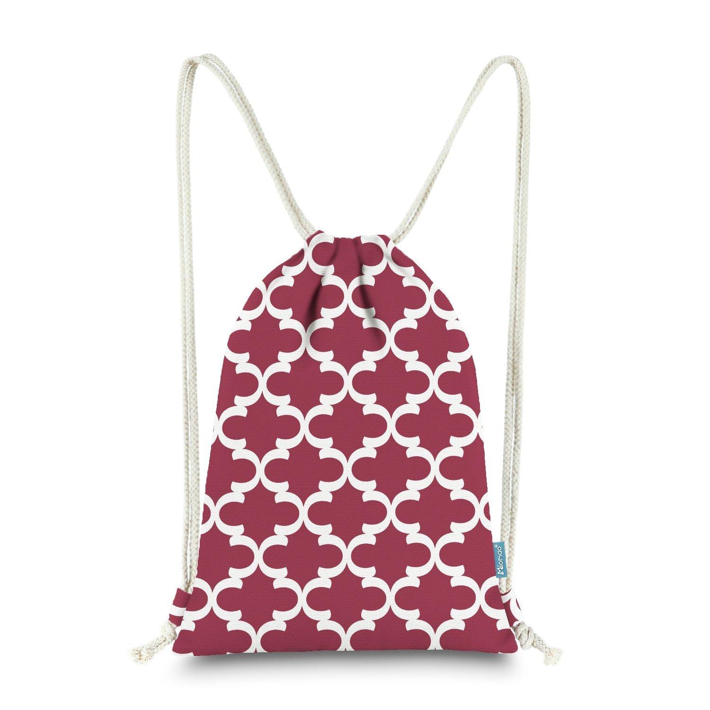Miomao Drawstring Backpack Bag Quatrefoil Gym Sack Pack Geometric Soft Fleece Sinch Sack Sport String Bag Christams Gift Beach Bag 13 X 18 Inches Burgundy