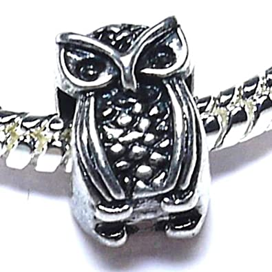 68d2e105b Amazon.com: Charm Buddy Wise Owl Charm Fits Silver Pandora Style ...