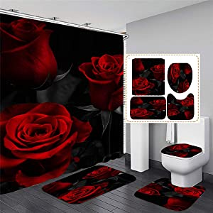 MrLYouth Glam Fire Red Rose Bathroom Sets with Shower Curtain with Rugs,Toilet Lid Cover and Bath Mat. 4 Pcs Waterproof Polyester Sexy Floral Pattern and Black Leaves Bathroom Decor with 12 Hooks
