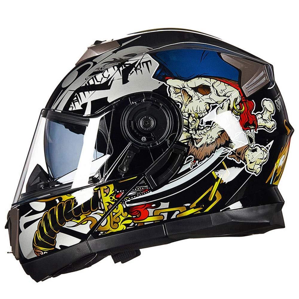 Pattern 2 XL Lanbinxiang@ Electric Car Motorcycle Face Handsome Helmet Double Lens Full Cover Personality Locomotive Full Face Helmet AntiFog Waterproof Four Seasons ABS Material Men's Racing Helmet Predection