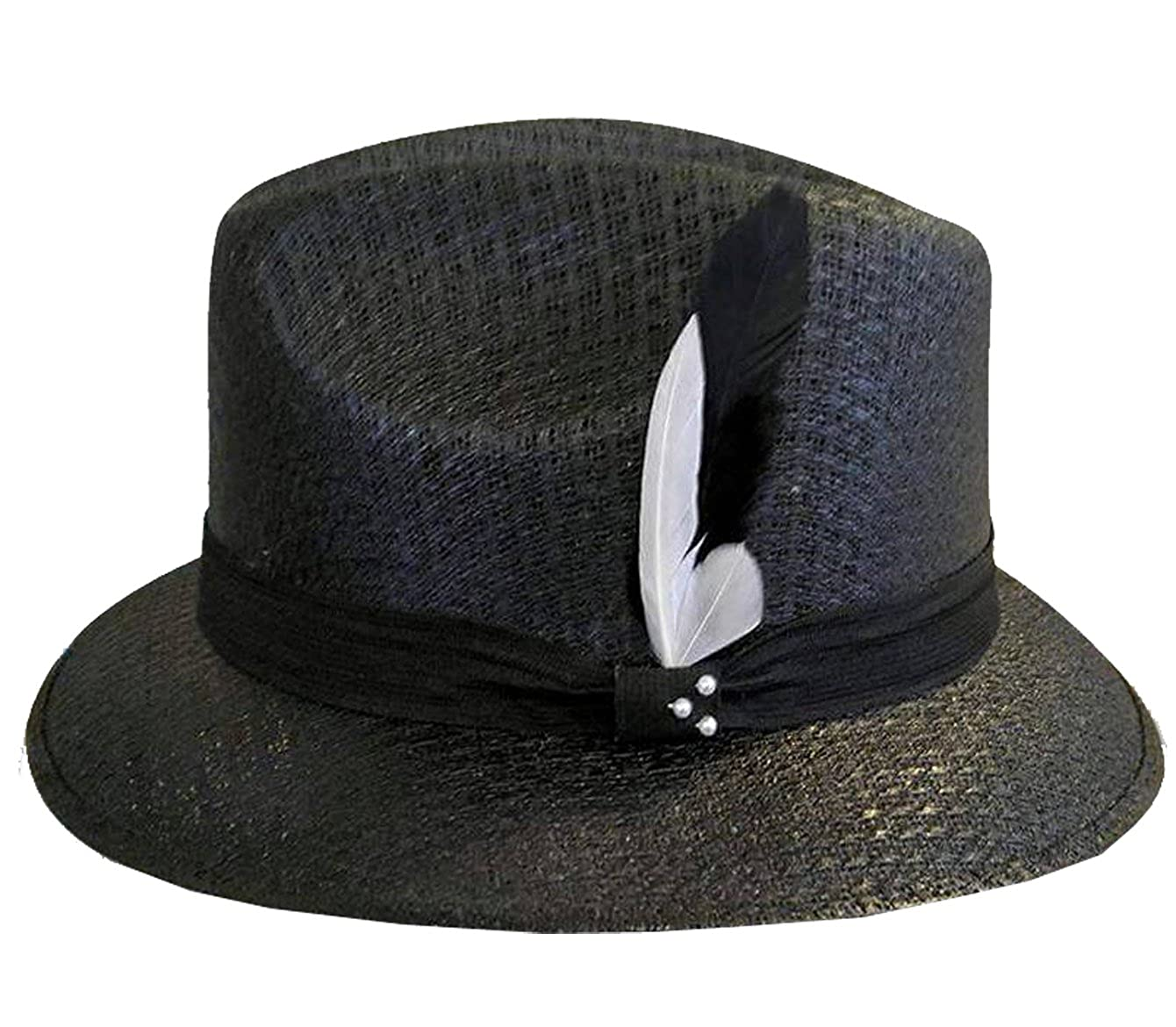 Black Pachuco Fedora Derby with White   Black Feather Lowrider Brim (57) at  Amazon Men s Clothing store  8ebd0c50677