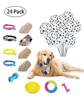 YunKo Kit de suministros de fiesta de cumpleaños para perro, 4 piezas de juguetes de