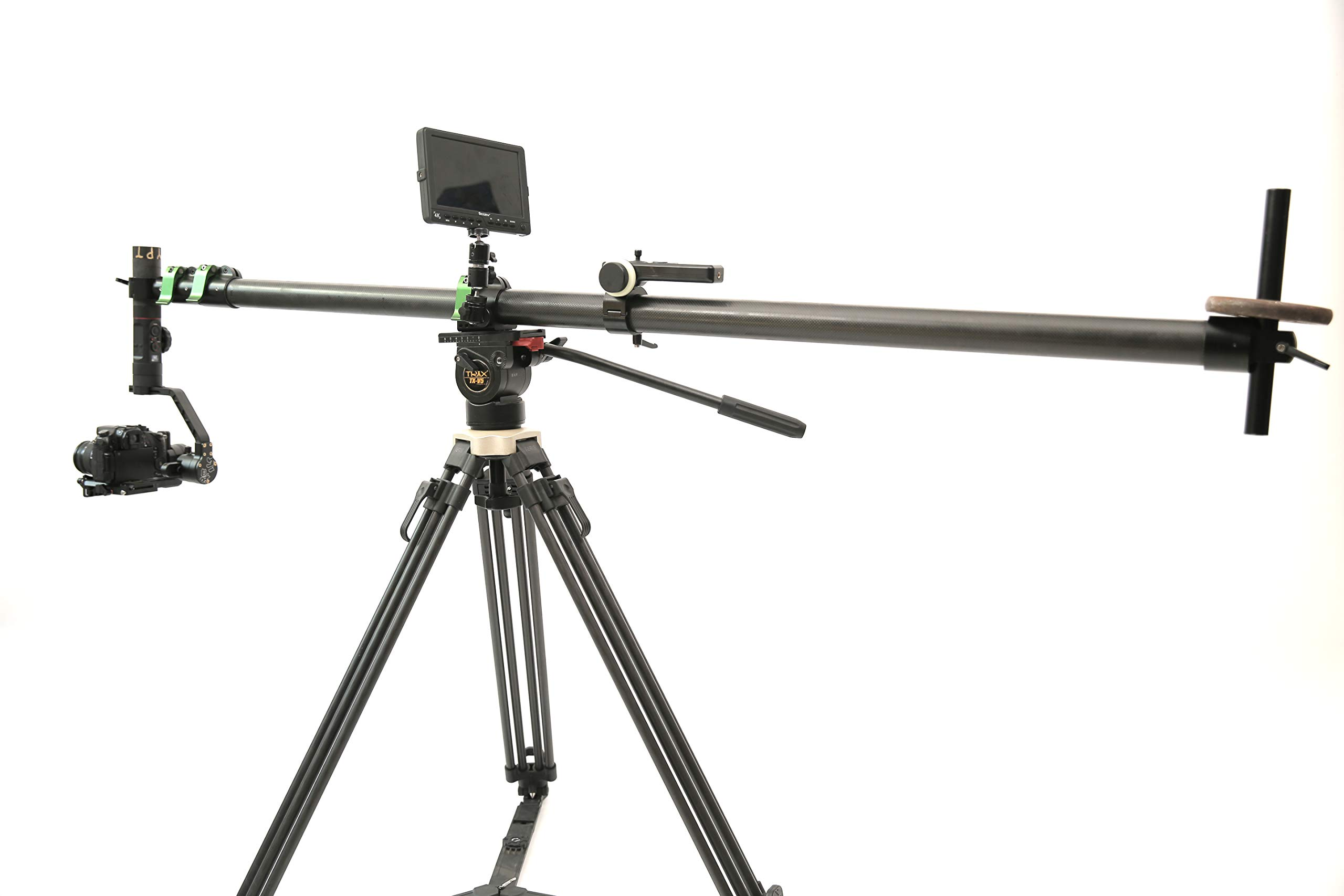 Teris 13ft Carbon Fiber Mini Jib Video Camera Cranes Hold up to 7.7lbs Foldable and Extendable Jib Arm with 1/4 & 3/8 inch Quick Release Plate for DJI Roins,ZHIYUN Crance2 by Teris