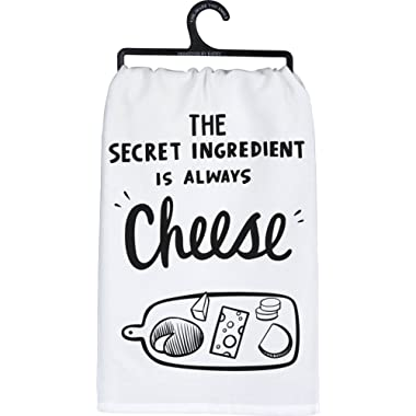 Primitives by Kathy Tea Towel, The Secret Ingredient is Always Cheese, Machine Washable 100% Cotton, 28  Square
