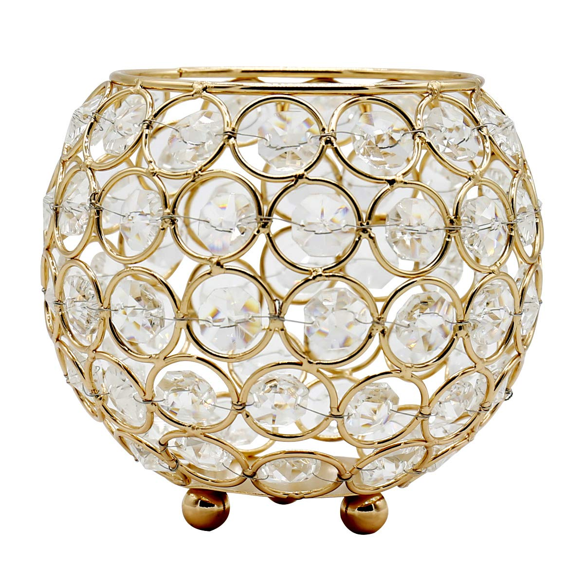 Joynest Crystal Tea Light Candle Lantern Holders, Wedding Coffee Table Decorative Centerpieces for Home Décor Party Mothers Day Birthday House Gifts (4.8'', Gold)