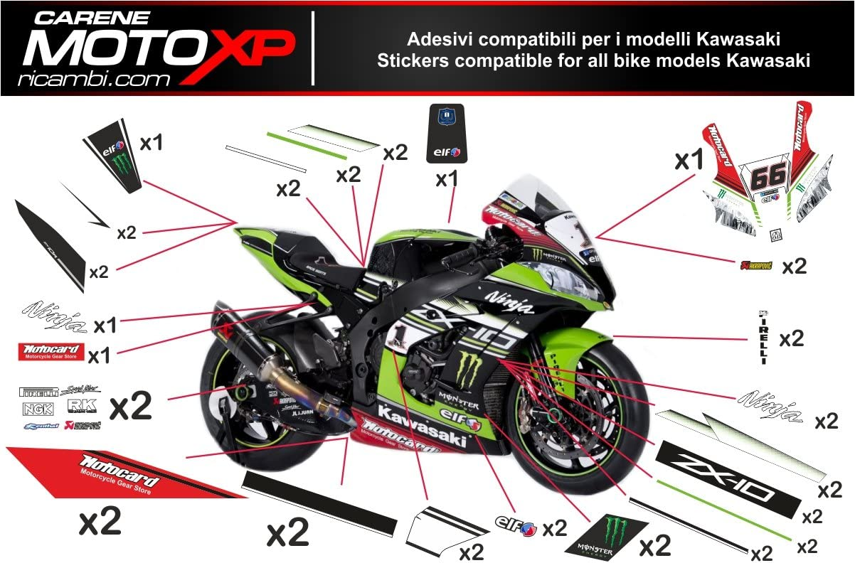 Pegatinas Adhesivos Motos Racing Kawasaki Zx10r 2016 2017 SB16 ...