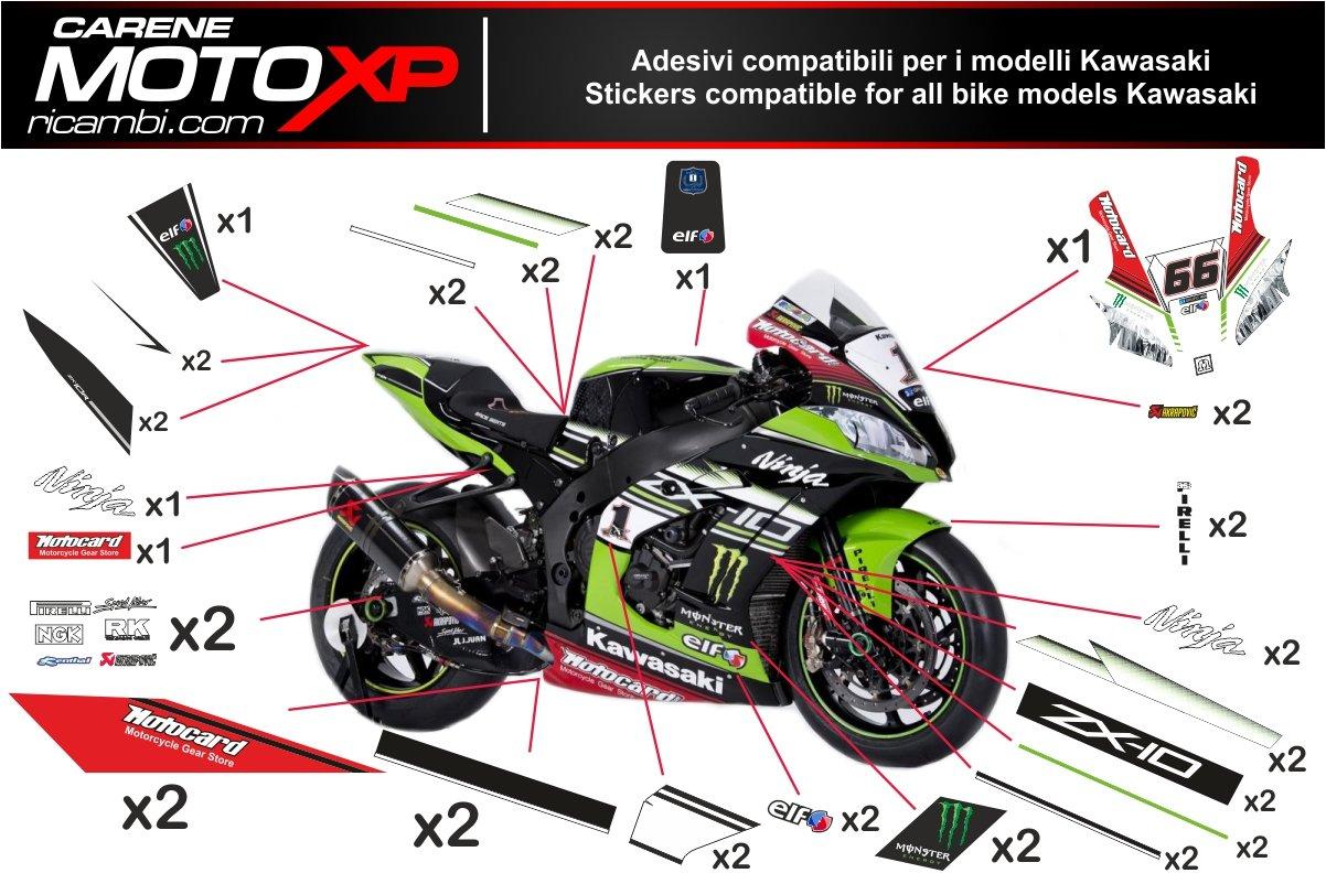 Pegatinas Adhesivos Motos Racing Kawasaki Zx10r 2016 2017 ...