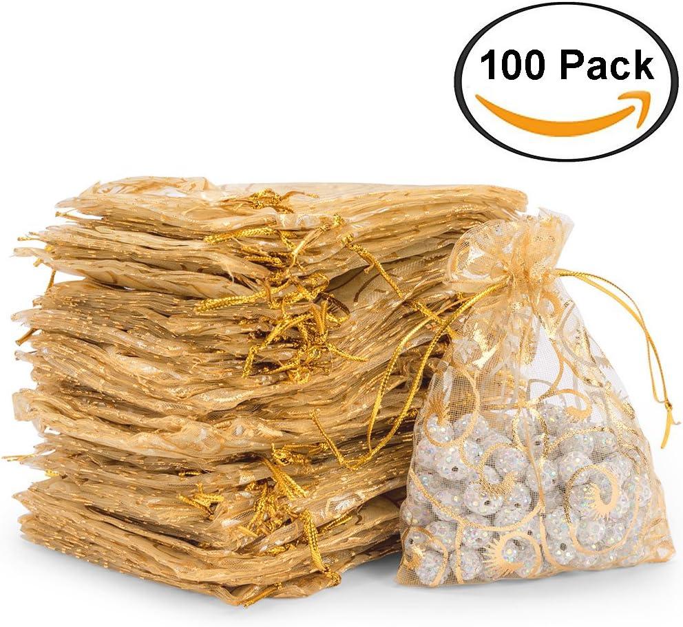 100/piezas bolsitas de Organza bolsas favor de Navidad Fiesta de Boda de cord/ón bolsas de regalo beb/é ducha bolsa dikete/®